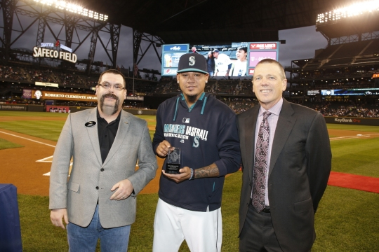 Felix Hernandez was honored as the Mariners recipient of the Roberto Clemente Award.