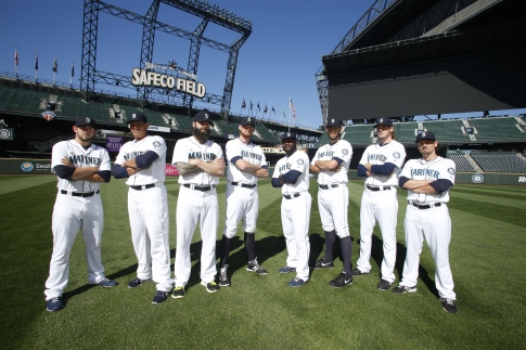 The Great 8 of the Mariners Bullpen (left-right): Dominic Leone, Yoervis Medina, Joe Beimel, Charlie Furbush, Fernando Rodney, Tom Wilhelmsen, Brandon Maurer, Danny Farquhar.