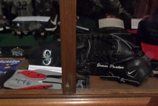James Paxton's fielding mitt from the 2014 season is displayed at the Canadian Baseball Hall of Fame.