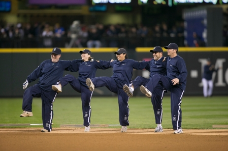 The Safeco Field grounds crew is taking a break from dancing to collect new and gently used winter coats for the needy.