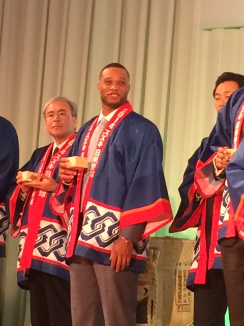 Robinson Cano took part in the sake barrel ceremony which represents harmony and good fortune.
