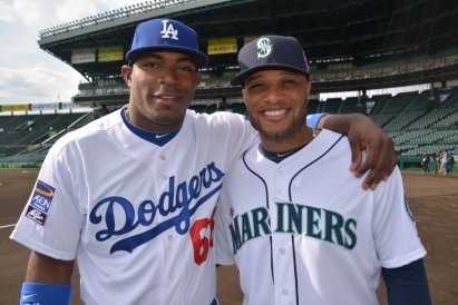 YasielPuig and his buddy Robinson Cano Ben Platt/MLB.com