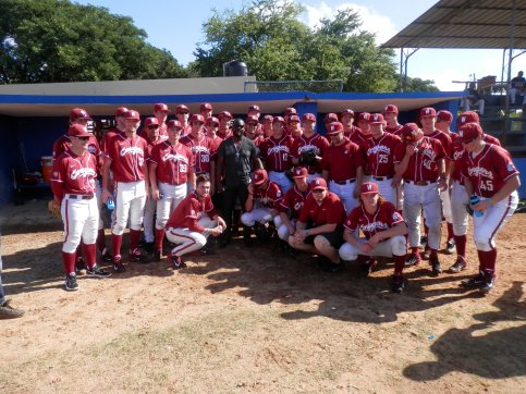 Fernando Rodney with the WSU Cougar Baseball team.