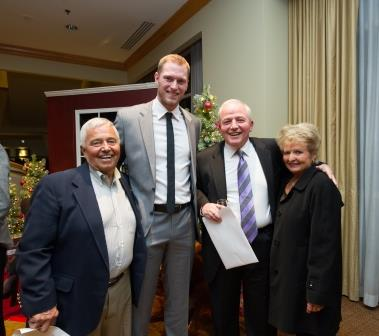 Moose Clausen with Michael Saunders, winner of this year's Moose Clausen Award for Community Service, with Bob Simeone and Dorothy Clausen.