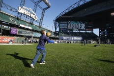 Have a catch in the outfield at Safeco Field.