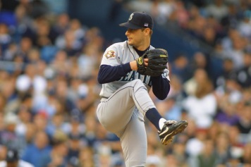Game 3 of the 2001 ALCS vs. the Yankees (Getty).
