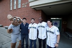 The Mariner Moose, Aaron Goldsmith, Dominic Leone, James Jones and Danny Farquhar.