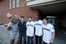 The Mariner Moose, Aaron Goldsmith, Dominic Leone, James Jones and Danny Farquhar.