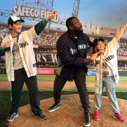 Fernando Rodney shooting arrows with his fans.
