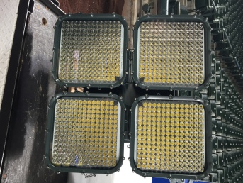 The new LED Fixtures are four panels of 196 tiny lights.