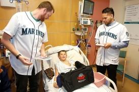 Charlie Furbush and Stefen Romero at Mary Bridge Hospital in Tacoma.