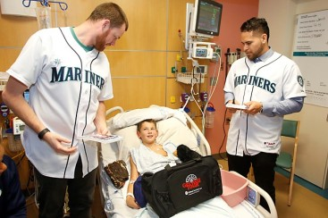Charlie Furbush and Stefen Romero at Mary Bridge Hospital in Tacoma.