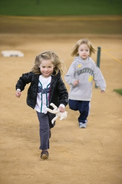 Kids get to run around the bases at Safeco Field during Mariners FanFest.