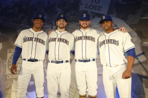 Taijuan Walker, James Paxton, Charlie Furbush and Nelson Cruz in the new uniform.