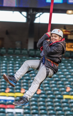 Riding the zip line over the Safeco Field outfield is one of the top attractions of Mariners FanFest.