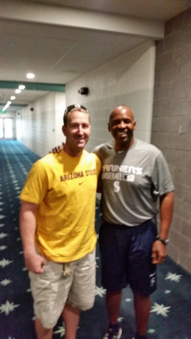 Willie Bloomquist and Alvin Davis chatted for a bit after arriving at the Mariners complex.