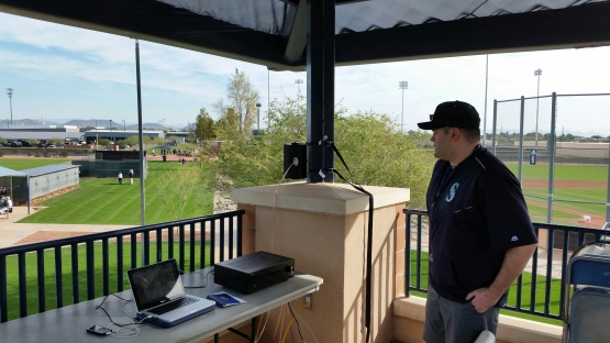 Mariners video coordinator Jimmy Hartley lays down the tracks in Peoria.