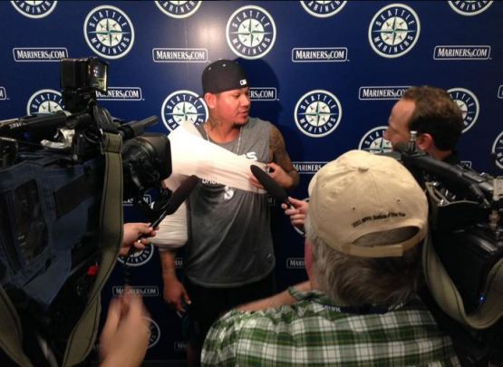 Felix discusses his bullpen session with the media.