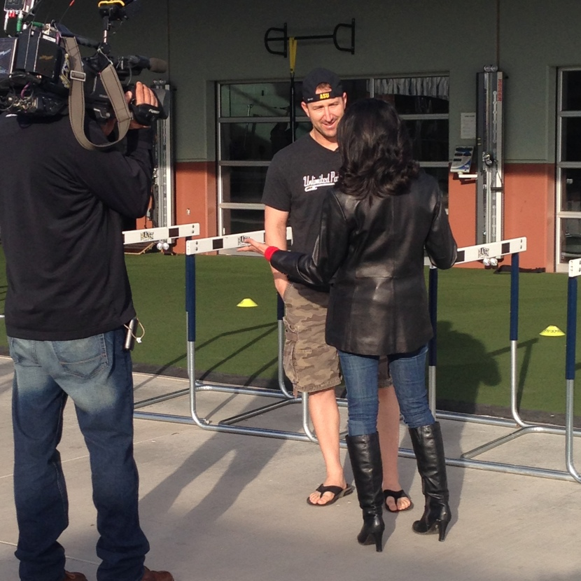 Willie Bloomquist came in early to film a segment with Good Morning Arizona.