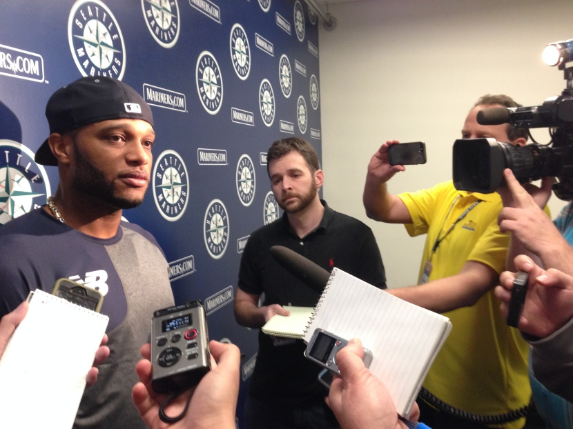 Robinson Cano meets with the media at the Mariners complex.