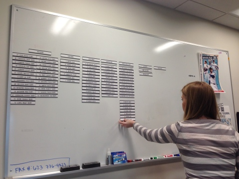 The white board helps the staff keep track of who is in camp and who has been reassigned.