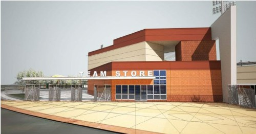 A two-story building along the third base concourse houses the new Team Store and a party deck for group functions.