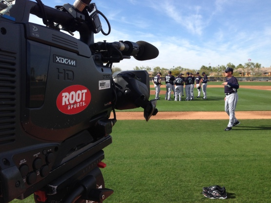 Cameraman Kevin Vocht records the sights and sounds of Mariners spring training.