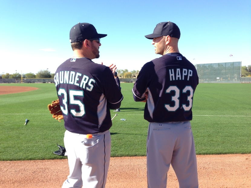Left-handers Joe Saunders and J.A. Happ are getting to know each other.