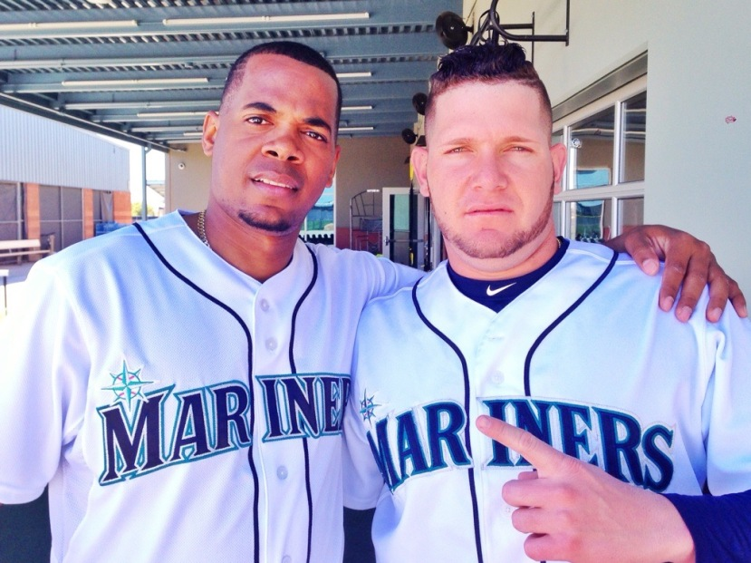 Roenis Elias (left) and Misael Siverio chatted for a few minutes this afternoon.