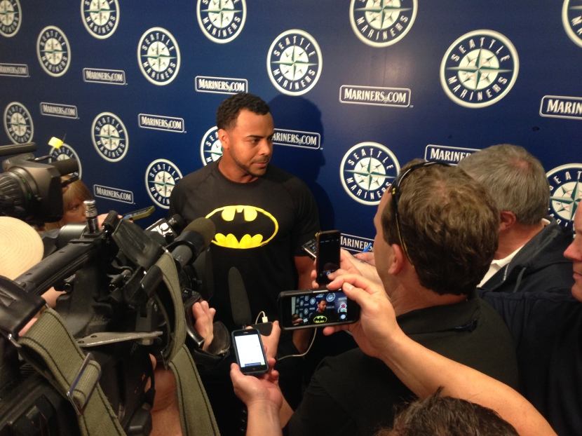 Nelson Cruz chats with the media in Arizona.