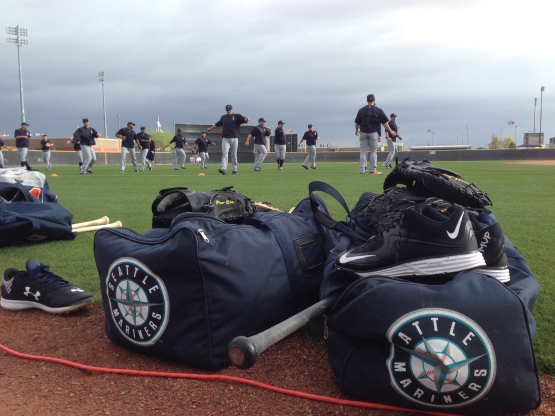 The Mariners stretch before workouts this morning.