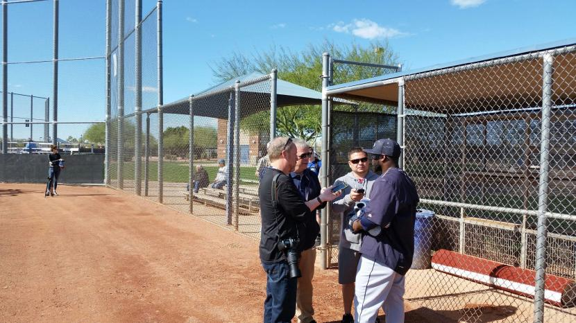 Fernando Rodney chats with the beat guys after his bullpen session.