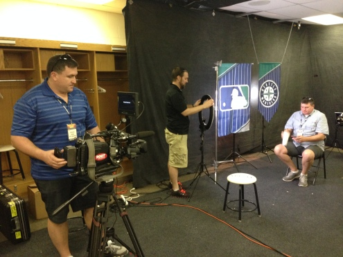 The ROOT SPORTS crew sets up for interviews over the next week.