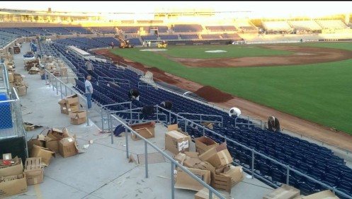 New, self-rising seats with cup holders have been installed throughout the main seating bowl.