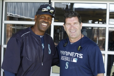 Mariners Hall of Famers Alvin Davis and Edgar Martinez.