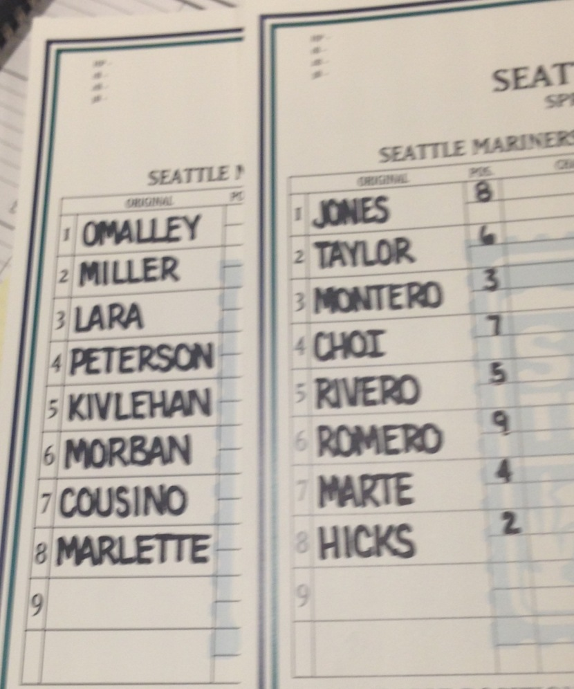 Lineups for the instrasquad game that was rained out.