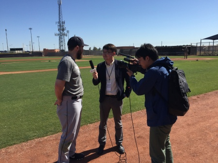 Dustin Ackley being interviewed by NHK.
