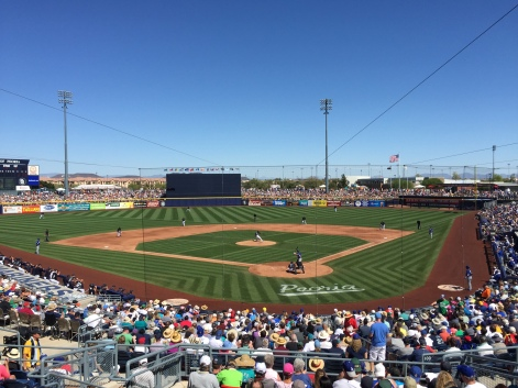 A packed Peoria Stadium crowd of 13,055 watched today's Mariners-Dodgers game.