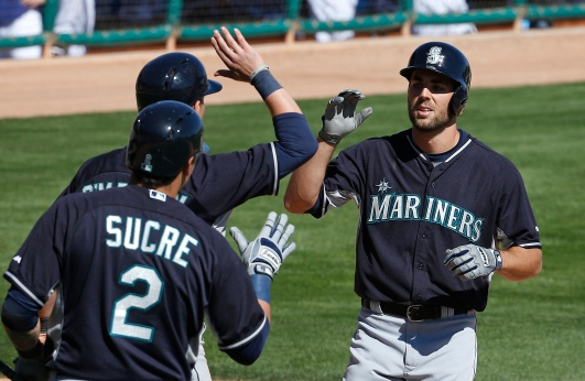 Chris Taylor is congratulated after hitting a 2-run home run vs. the Dodgers.