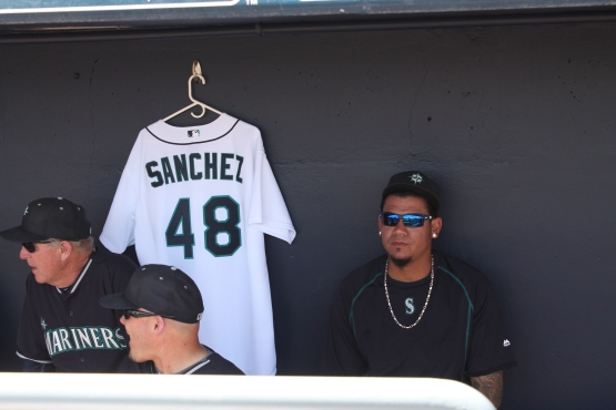Felix Hernandez sits next to Victor Sanchez's jersey prior to the game. (credit: Augusto Cardenas)