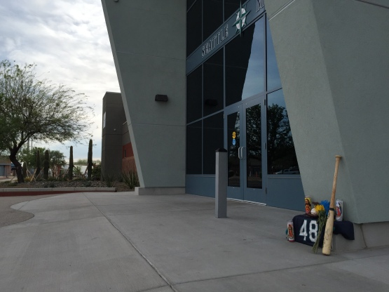 Teammates and fans have begun a memorial in front of the Spring offices in Arizona for Victor Sanchez.