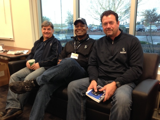 Rick Rizzs, Dave Sims and Mike Blowers are ready to get started.