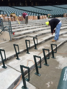 The seats in the Diamond Club are being replaced.