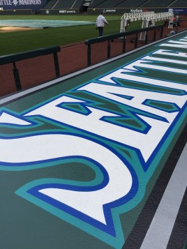 Newly painted logos on top of both dugouts will really pop under the new LED lights.
