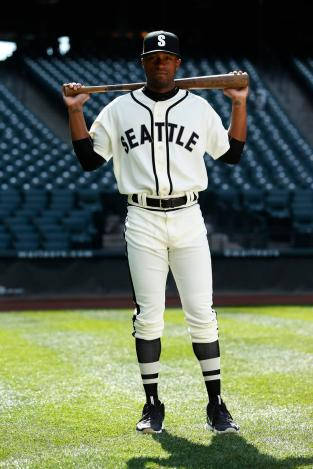 Austin Jackson models the Seattle Steelheads uniform the Mariners will wear May 16 vs. Boston.