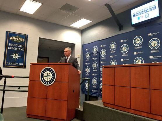 MLB Commissioner Rob Manfred during his visit to Seattle.