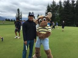 Taijuan Walker with the Mariner Moose.