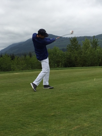 ROOT Sports reporter Brad Adam showing off his swing (and Ricky Fowler style pants)!