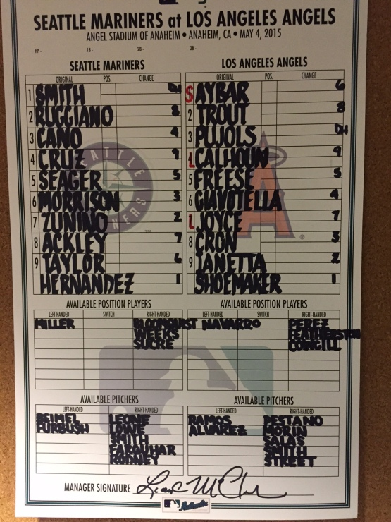 Mariners vs. Angels Lineups (05.04.15)