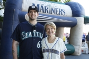 James Paxton with Refuse to Abuse 5K Honorary chair Margaret Larson of KING TV.